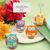 Hand Painted Ceramic Owl Design Place Card Holder
